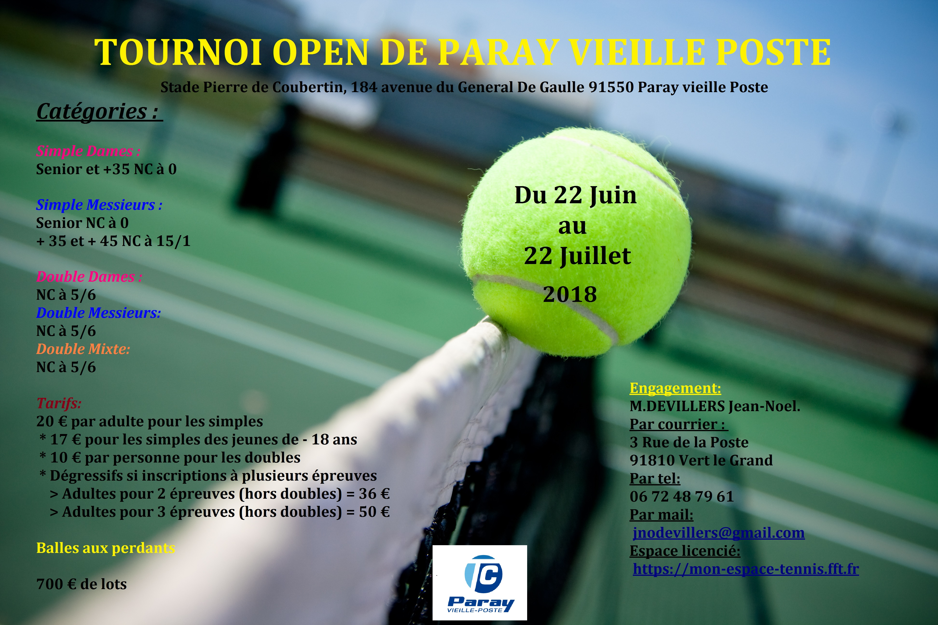 Affiche Tournoi TC PARAY